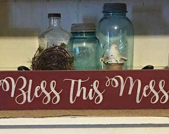 Bless This Mess,Wood Sign,Rustic Decor,Funny Sign,Distressed Sign,Farmhouse,Primitive Sign