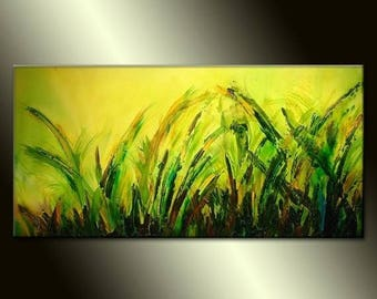 Green Textured Modern Palette Knife Landscape Abstract Painting By Henry Parsinia 48x24