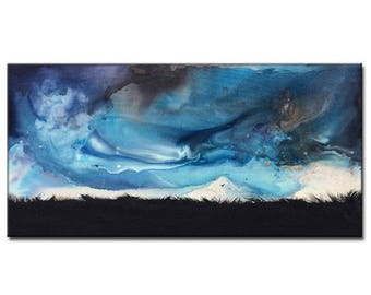 Original Stormy cloud landscape Abstract painting valley dusk Contemporary Gallery Art On Canvas By New Wave Art Gallery
