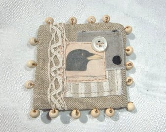 brooch bird fabric brooch, textile, beige and black