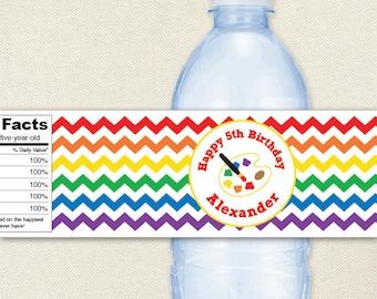 Art Party - Art Birthday Party Water Labels, Artist's Palette - 100% waterproof personalized water bottle labels