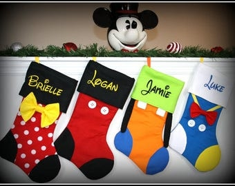 SET OF 2!!  Christmas Stockings - Disney Character Inspired Personalized Embroidered Mickey Minnie Goofy Donald Daisy Tinkerbell Pluto