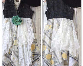 Sale M Country girl camo duster dress, Shabby cottage chic summer duster kimono, shabby boho, camo and lace, lace kimono True rebel clothing