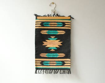 Vintage Weaving, Small Flat Weave Textile Wall Hanging, Southwestern Wall Weaving