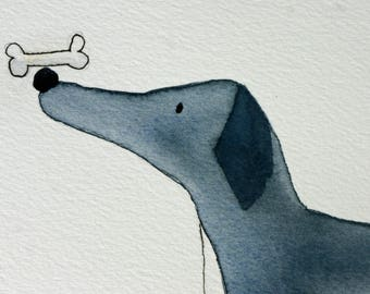 Its all about balance, grey dog with bone, original watercolor, simple, whimsical, children's art, inspirational, yoga, matted, grey blue