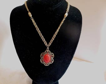 Tara charming pendant necklace signed carved red bead with surrounding red rhinestones