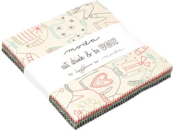 "Eat Drink & Be Ugly Charm Pack by Sandy Gervais for Moda Fabrics 17920PP 42 5"" Fabric Squares"