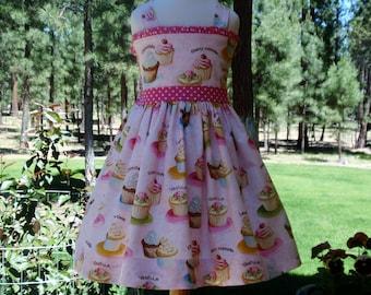 Girls Birthday Dress - Girls Cupcake Dress - Pink Birthday Dress - Toddler Pink Birthday Dress - Birthday Cupcake Dress - Handmade