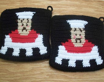 Chef Potholders -Black, White and Red Checkered Potholders - Checker Potholders Kitchen Decor Crocheted Housewarming Gift MADE TO ORDER