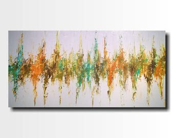Large abstract paintings Jmjartstudio  24 X 48 Inches orange painting-oil painting------ Seasons Change  -----wall art