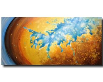 Original Abstract Large painting - 24 X 48  JMJartstudio- Stillness-Wall art-wall decor --Ocean Blue