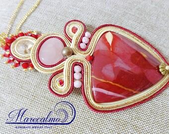 Gemstone necklace, soutache necklace, soutache costume jewelery, Boho marsala necklace, fiber art necklace, embroidered pendant