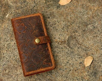 Women embossing leather iPhone 8 wallet case iPhone 8 mobile wallet / leather iPhone 8 plus wallet case cover - IP20MW-B