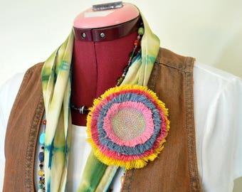 "Pink Dyed Fringed Denim Brooch PIN CLIP - Sunshine Yellow Pink Blue Denim Circle Corsage Brooch 4"" Pin - 73"