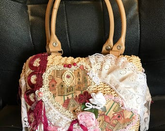 Shabby Chic Bohemian wicket purse with lace and flowers