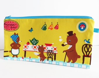 Fairy Tale Friends Fabric Zippered Large Case