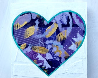 Valentine's Ultra Violet Geometrical Heart Mixed Media Original Painting Gifts for Her Gifts Under 40