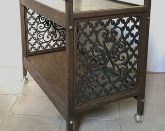 Mid Century Bar Cart Trolley Serving Rolling Cart Faux Wood Filigree Grille