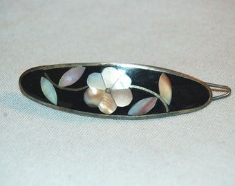 Barrette Hair Clip, Silver Inlaid Abalone,  Vintage old jewelry