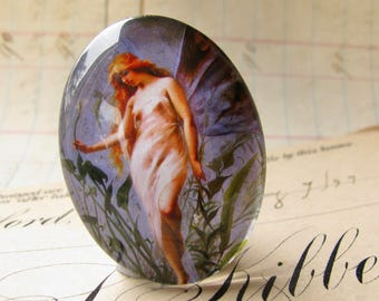 Fairy cabochon, long hair, handmade glass oval, 40x30 30x40, etherial, from our Magical Maidens collection, handmade in this shop