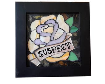 American Traditional Tattoo Yellow Rose Stained Glass Mosaic Suspect
