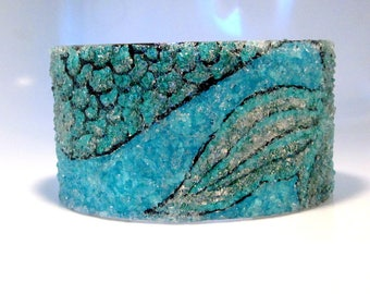 Mermaid Cuff Bracelet, Wide Silver Bangle, Turquoise Fire Blue, Hand Painted, Stained Glass Mermaid Tail, Adjustable Size 6 7 8 9
