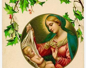 Vintage Madonna Mary Jesus Graphic Image Art Fabric Block