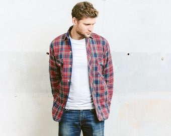 Men's Plaid Flannel Jacket . Thick Padded Shirt Vintage 90s Grunge Overshirt Red Lumberjack Shirt . size Small