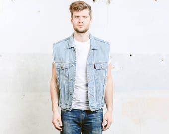 Vintage  80s Jeans Vest . Denim Jacket Mens Sleeveless Jacket Blue Indie Hipster Grunge 1980s Waistcoat . size Medium M