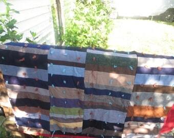 vintage  cottage chic     hand tied Patchwork  Quilt