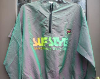 VTG Surf Style Interplanetary Body Gear  Windbreaker Jacket & board shorts  Set Iridescent Color block 80's sz med