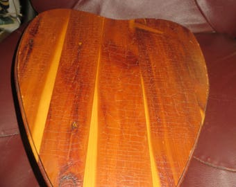 mid century handmade large  dove tailed  wood  sewing heart box with storage etched  mirror   storage  box
