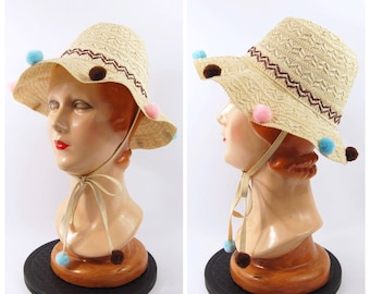 50s 60s Novelty Straw Hat // 1950s Sun Hat  VLV Pool Party Pink and Blue Brown and Ivory Straw Sun Bonnet Kitschy Tiki Early 1960s Chin Ties