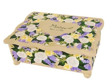 Hand Painted Personalized Memory Box - Roses, Orchids, Violets - Birthday Card Box, Wedding Gift Card Box Baby Shower Box
