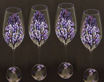 Hand-Painted Champagne Glasses - Purple Lilacs, Set of 4 - HandPainted Summer Wedding Gifts Hostess Gifts