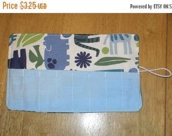 Sale Late summer SALE Crayon Roll 2D zoo Blue More Crayon Rolls in My Shop