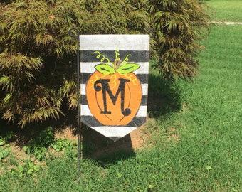 Fall Halloween Stripe Pumpkin Burlap Garden Flag Choose your Initial