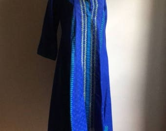 Blue Indian Vintage Tunic Dress