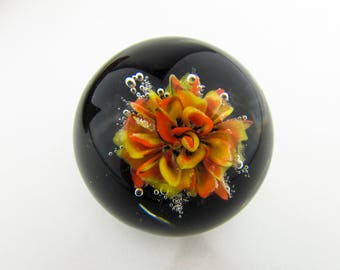 Hand Blown Heady Glass Marble, Glass Flower, Art Glass Orb, Boro, Lampwork, Borosilicate Collectible Art Glass Marble, Implosion Marble