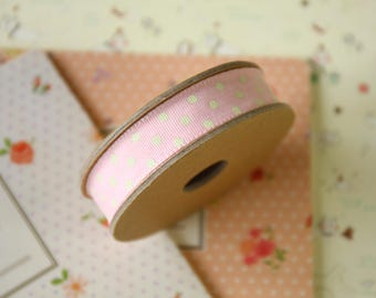 Pink with Cream Dots country style polka dot ribbon