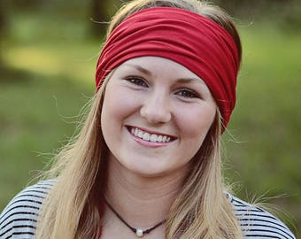 Red Bandeau Headband, Hippie Band Head Hugger Headband, Red Headwrap Bandeau, Extra Wide Head Wrap (#1604) S M L X