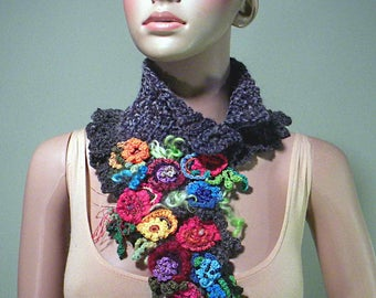 ROMANTIC SCARFLETE/COLLAR - Wearable Art, Fiber Jewelry, Freeform Crocheted & Hand Crafted Flowers