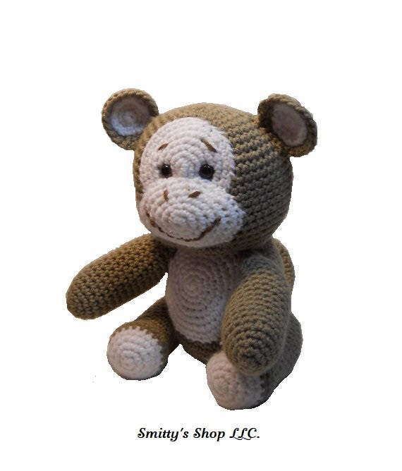 Amigurumi Stuffing : Crocheted Monkey amigurumi style stuffed animal.