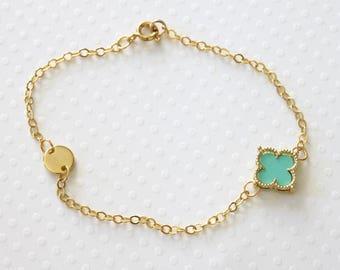 Turquoise Blue Flower Bracelet - Flower and Dot Bracelet - Quatrefoil Bracelet - Friendship Bracelet - Dainty Bracelet - Everyday Jewelry