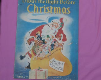 Twas the Night Before Christmas, Vintage 1950 Oversized Children's Book, Textured Pages For Crafting, Collecting, or Wall Decor