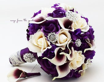 Resered for Mayra - Bridal Bouquet Toss Bouquet Groom's Boutonneire - Custom Wedding Flower Order