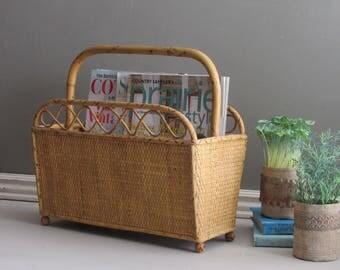 Vintage Rattan magazine rack – wicker - mid century - rattan basket – mcm décor