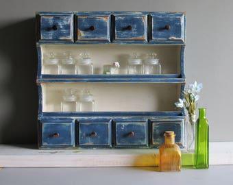 Vintage Storage Cabinet- wood cabinet -curio cabinet -  spice cabinet -8 drawers