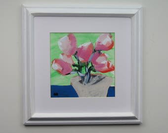 original painting - Pink Bouquet  - framed painting -  vintage