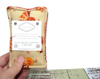 Reusable Sponge | Unsponge | Eco Friendly | Cleaning or Kitchen Sponge | Cotton and Terry Cloth | Thanksgiving | Turkey | Pumpkins | Autumn